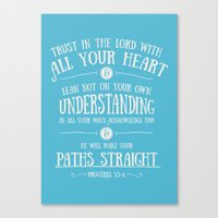 bible verses Canvas Prints featuring Proverbs 3 verses 5 and 6 - Typographic Bible Verse by Encouraging Verses UK