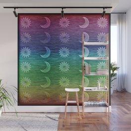 Rainbow Sun and Moon Celestial Hippie Pattern Wall Mural