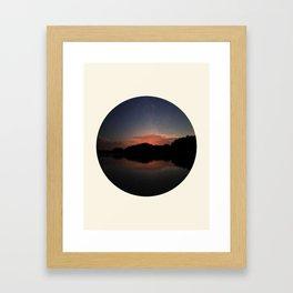 Mountain Sunset Silhouette With Stars Framed Art Print
