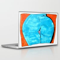 butt Laptop & iPad Skins featuring blue butt by withapencilinhand