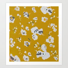 mustard poppies Art Print