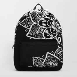 White Mandala On Black Backpack
