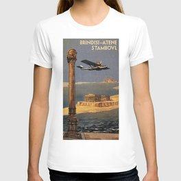 Italian vintage plane travel Brindisi Athens Istanbul T-shirt