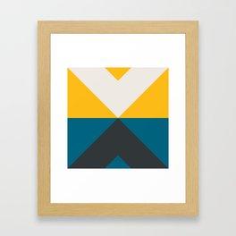 Split X Teal & Yellow Framed Art Print