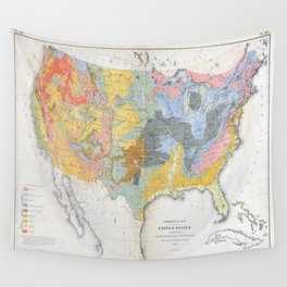 1874 Geological Map of the United States Wall Tapestry