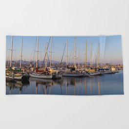 Sail Boats in the Harbor Beach Towel