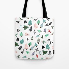 Cute whimsical Christmas trees pattern illustration Tote Bag