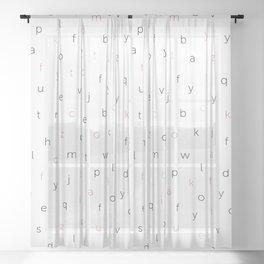ABC Black white red orange Sheer Curtain