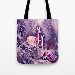 Whitetail Doe and Fawns in the Forest Tote Bag