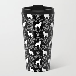 Bernese Mountain Dog florals dog pattern minimal cute gifts for dog lover silhouette black and white Travel Mug