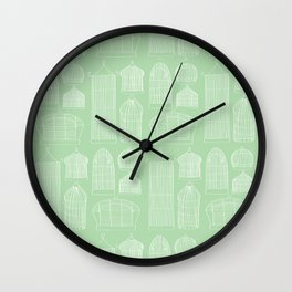 Birdcages (Green) Wall Clock