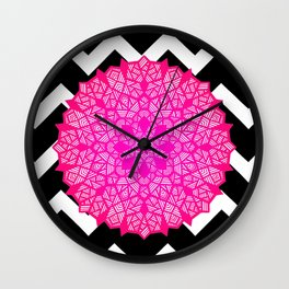 Bright pink design on black and white chevron pattern Wall Clock