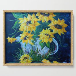 Sunflowers in a Country Pot Serving Tray