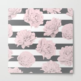 Rose Garden Stripes Pink Flamingo on Storm Gray and White Metal Print