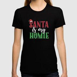 Santa Is My Homie Sweet Santa Hat Christmas T-shirt