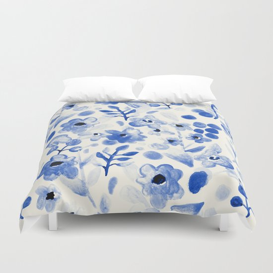 Blue China - Watercolor Floral Duvet Cover