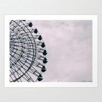 kobe Art Prints featuring Kobe Ferris Wheel by ambivalentpress