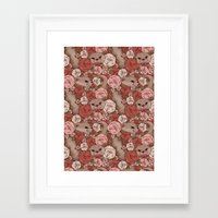 otters Framed Art Prints featuring Rose Otters by FallenZephyr