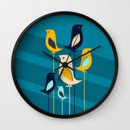 Mid Century Birds Blue Wall Clock