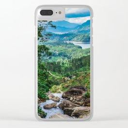 Green valley overview with mountains and waterfall Clear iPhone Case