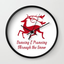 Prancing Christmas Deer Wall Clock