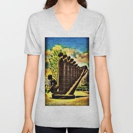 African American Masterpiece 'Lift Up Every Voice & Sing' without gold border Unisex V-Neck