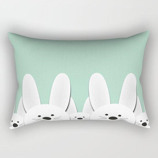 Spying Bunnies Rectangular Pillow