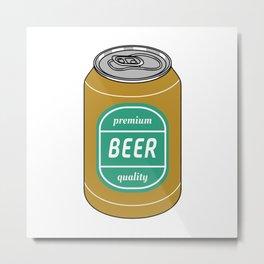Pop Art Beer Golden and Green Metal Print