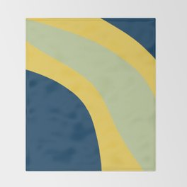 Navy Blue, Yellow and Sage Abstract Shapes Throw Blanket