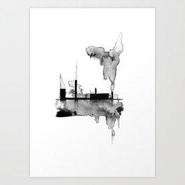 Steelworks Industrial Landscape Painting Art Print