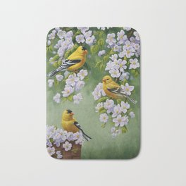 Goldfinches and Spring Apple Blossoms Bath Mat