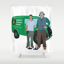 Russell & Hugh Jewellery Retrieval Service - DMDC - Detectorists Shower Curtain