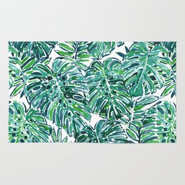 JUNGLE VIBES Green Tropical Monstera Leaves Rug