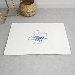 texas // watercolor bluebonnet state flower map Rug