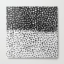Modern Black and White Hand Drawn Polka Dots Metal Print