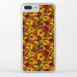 autumn flowers and leaves Clear iPhone Case