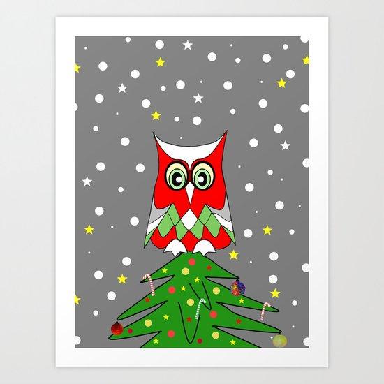 Tree Top Owl Art Print