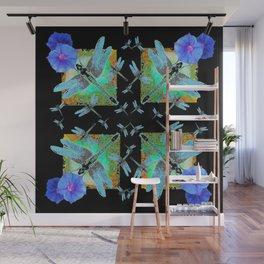 BLUE DRAGONFLIES MORNING GLORY BLACK ABSTRACT Wall Mural