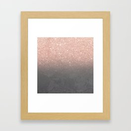 Rose gold glitter ombre grey cement concrete Framed Art Print