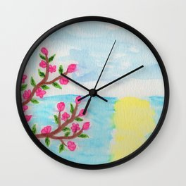 Cherry Tree Ocean View Wall Clock