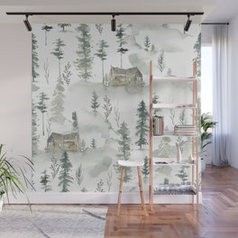 Winter scene houses and trees pattern Wall Mural
