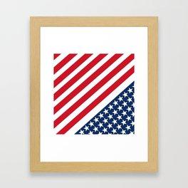 USA American Flag Slanted Stripes Framed Art Print