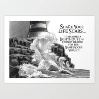 Lighthouse. Rock Scars Art Print