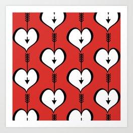 Loving You white hearts Art Print