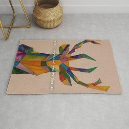 geometric deer using watercolor Rug