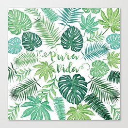 Tropical Pura Vida Palm Leaves and Monstera Watercolor Canvas Print