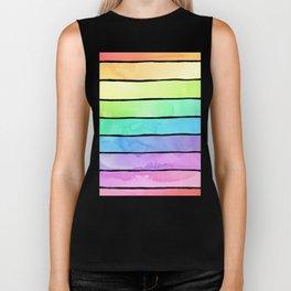 Watercolor Rainbow Stripes in Ombre Summer Pastels Biker Tank