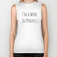 notebook Biker Tanks featuring I'm A Work In Progress by Charlene McCoy