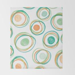 Watercolour Circles #2 | Orange and Green Palette Throw Blanket