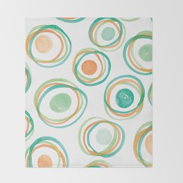 Watercolour Circles #2 | Orange and Green Palette Throw Blanket